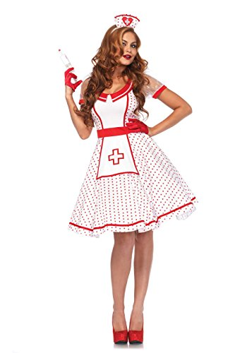 Leg Avenue Women's Sexy Retro Nurse Pinup Costume, White/Red, Small/Medium -