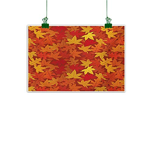 Anzhutwelve Orange,Wall Art Decor Poster Painting Colorful Autumn Fall Season Maple Leaves in Unusual Designs Nature Artsy Print Abstract Artwork Home Decor Burnt Orange W 47
