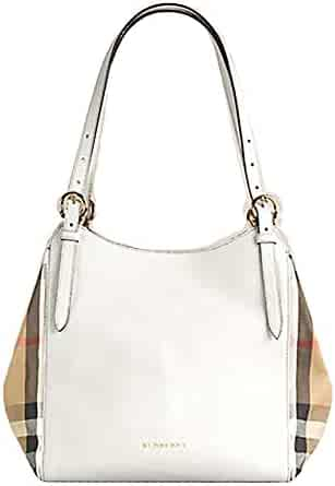 92fb4e598165 Tote Bag Handbag Authentic Burberry Small Canter in Leather and House Check  Natural Color Made in