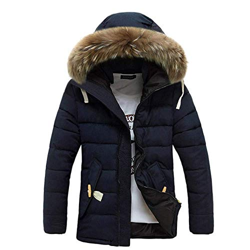 Zipper Winter Mens Forti Down 5 colore Jacket Warm Outdoor Capispalla Hooded navy Cotton Fur Taglie Thick Fleece Zhrui Dimensione Xxl Coat Plus wIOaqPdIx