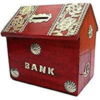 Mussal HUT Shape Piggy Bank/Money Bank for Kids and Adult (red)