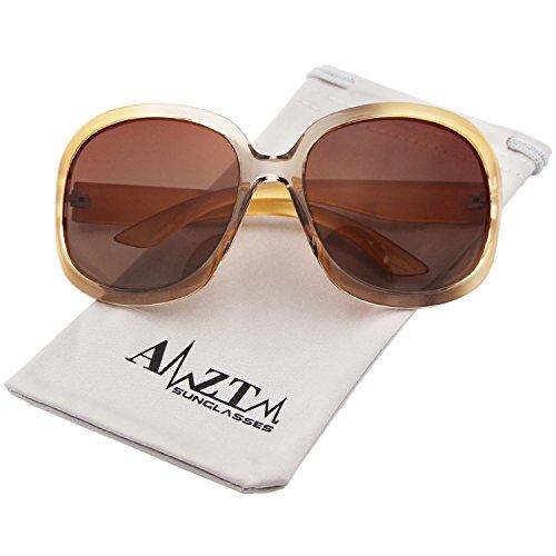 AMZTM Classic Simple Oversized Polarized Women Sunglasses All-match Large Frame Eyewear (Champagne, - Sunglasses Large Lens