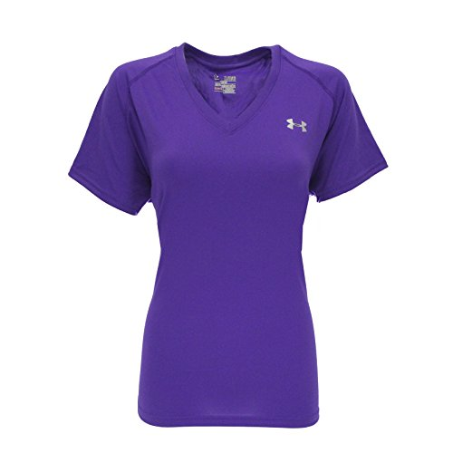 [Womens Under Armour Tech Shortsleeve V-Neck Shirt Pride/Silver Size Small] (Co Fitted T-shirt)