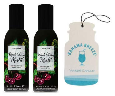 (Bath and Body Works 2 Pack Black Cherry Merlot Room Spray 1.5 Oz. + Paperboard Car Jar Bahama)
