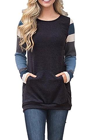 AlvaQ Winter Women Work Striped Long Sleeve Sweatshirt Ladies Pocktes Tunics Long Shirts Pullovers (Fashion Ladies Long Sleeve)