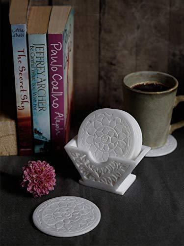 コースターセット : バードリンクコースターティーコーヒーマグ テーブルトップ バー用品 ドリンクセット 大理石 手彫り フローラルデザイン ダイニングアクセサリー ホームデコレーション   B079W6RM5H