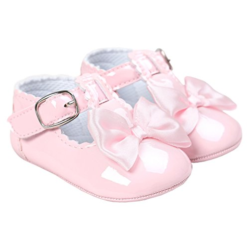 LINKEY Baby Girl Elegant Patent-Leather Velcro Buckle T-Strap Church Shoes With Bowknot Pink Size L -