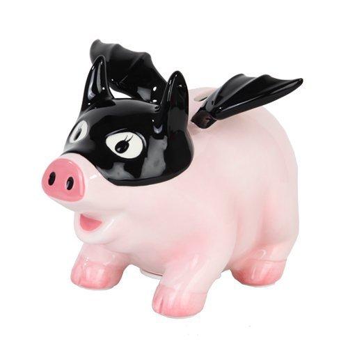 (PTC Pacific Giftware Ceramic Bat Pig Savings Piggy/Coin/Money Bank, 6.5