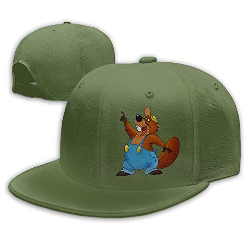 Sakanpo Cartoon Beaver Flat Visor Baseball Cap, Fashion Snapback Hat Moss Green -
