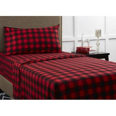 Mainstays Flannel Bedding Sheet Set, King, Red -