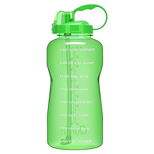 QuiFit 1 Gallon Portable Daily Water Bottle with Drinking Straw and Motivational Time Marked 128 oz Large Sport Water Jug BPA Free Reusable Stay Hydrated Ensure Your Water Intake Mint Green