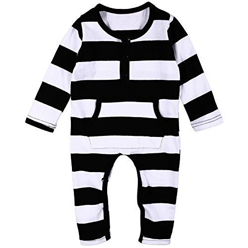 MIOIM Kids Romper Toddler Baby Boy Girl Striped Jumpsuit Bodysuit Clothes Outfit 0-3T