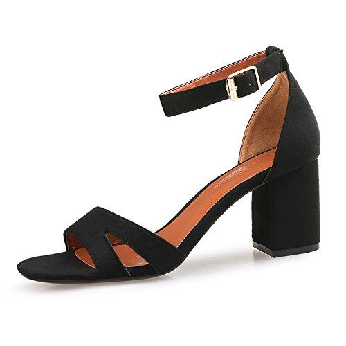 YMFIE Las señoras del talón Cuadrado con Las Sandalias Huecas del Dedo del pie Abierto de Moda de Verano Elegante Temperamento Tacones Altos A