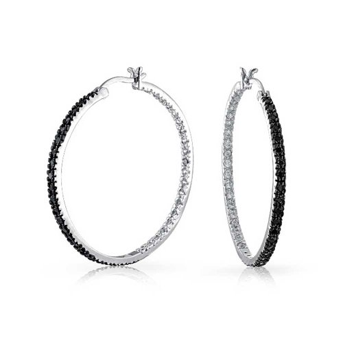 Black White Cubic Zirconia Pave Thin Inside Out Big Hoop Earrings For Women For Prom Silver Plated Brass 1.75 Inch ()