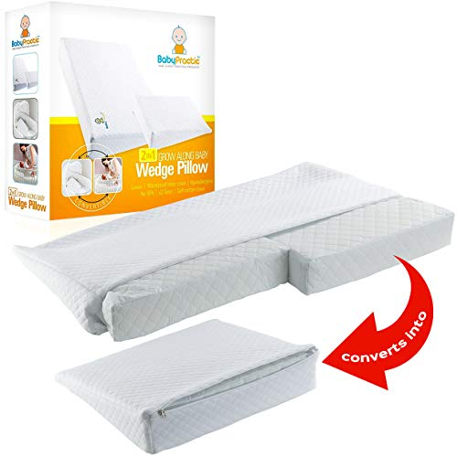 Baby Wedge Pillow   Inclined Crib Wedge Pillow for Reflux & Colic   Grow Along 2 Sizes in 1