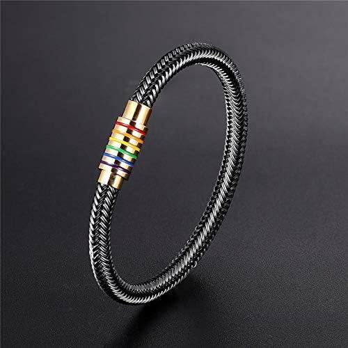 Unique Designer Black Genuine Braided Bracelet Men Stainless Steel Gay Pride Rainbow Magnetic Charms Bracelet Women Gift 18cm