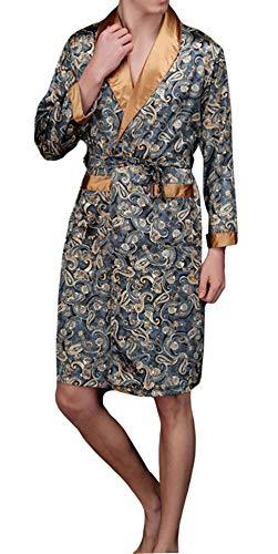 YIMANIE Men's Satin Robe Dragon Luxurious Silk Spa Long Sleeve House Kimono Bathrobe Lightweight Soft Printed Pajamas Navy (Satin Men Robe)