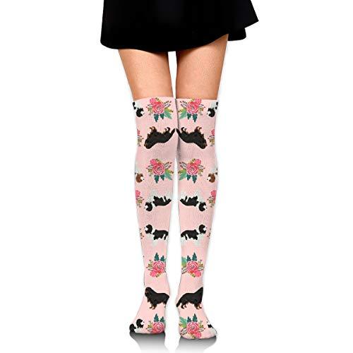 Womens Knee-High Socks - Leg Warmer Dresses Knit High Stockings Cosplay Socks Cavalier King Charles Spaniel Pink Florals Floral Dog