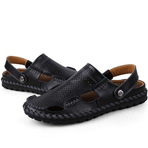 Sandales Cuir En Hommes d'été Pantoufles Homme Sandales Casual de Air Chaussures Cuir Lumino En Black Plein Cuir Vache Véritable ZwXxdq