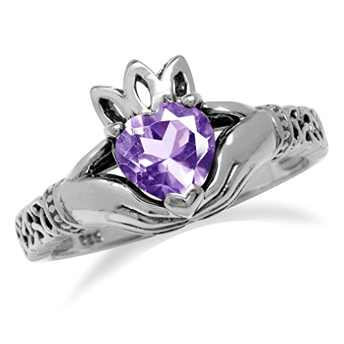 Celtic Ring Amethyst Claddagh Heart (Natural Heart Shape Amethyst Irish Claddagh & Triquetra Celtic Knot 925 Sterling Silver Ring Size 9)