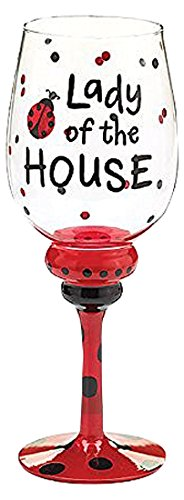 Burton and Burton SS-BNB-9720221 Lady Of The House Wine Glass Decor, 9 1/2&Quoth with 2 3/4