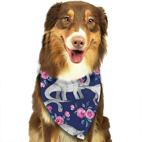 (ROCKSKY Dog Bandanas, Dinosaurs and Roses Wedding Dog Bandana Cute Kerchief, Triangle Bandana Kerchief Hankie Great Gift for Small to Large Dogs Cats Pets - Washable)