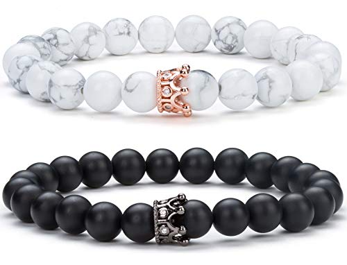 Hamoery Couple Bracelet Crown Queen Bracelet Distance Bracelet Gifts for Girls Good Gift for Couple 8 mm Natural Stone Lava Bracelet(Set3) (Couple Good Gifts)