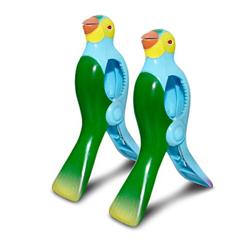 Lazy Daze and Sunny Days, Beach Chair Towel Clips, Parrot, Set of 2