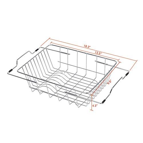 NEX Dish Drainer Rack Stainless Steel Dish Basket Adjustable Over the Sink Rustproof Storage Utensil for Kitchen