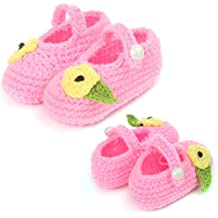 New Crochet Shoes,FuzzyGreen Crochet Shoes Cute Tiny Flower with Leaf Baby Newborn Infant Girl Boy Hand Knitting Crochet Pre Walker Toddler Warm Buckle Shoes Socks Booties(Pink)