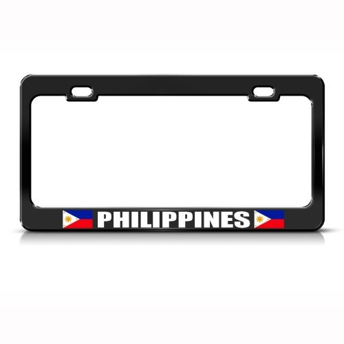 Philippines Filipinas Flag Black Country Metal License Plate Frame Tag Holder