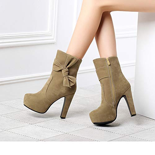 7ce8af6cdcd86 Hunzed Women Shoes Round Head Waterproof high Heel Fashion Side Zip Sexy  Ladies Ankle Boots (Khaki, 7)