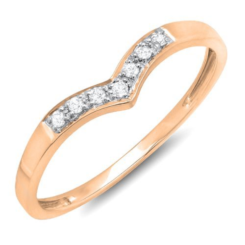 0.10 Carat (ctw) 10k Gold Round Diamond Ladies 7 Stone Wedding Chevron Anniversary Guard Ring 1/10 CT