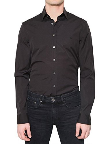 Burberry Brit Men's Black Henry Trim Fit Stretch Cotton Logo Sport Shirt - Burberry Logo Brit