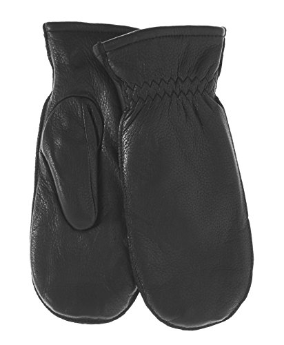 Pratt and Hart Women's Winter Deerskin Leather Mittens with Finger Liners Size XL Color Black -