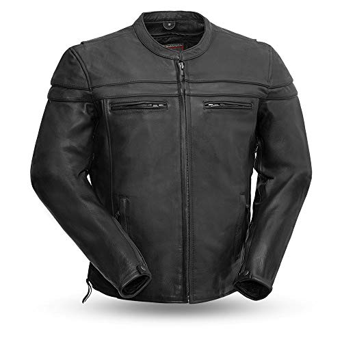 Sporty Scooter Jacket - First Manufacturing Men's Sporty Scooter Jacket (Black, X-Large)