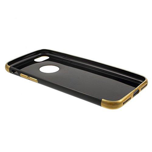 Plating Edges Flexible TPU Back Tasche Hüllen Schutzhülle Case für iPhone 7 - schwarz