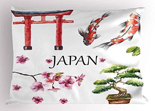 Tigeaslg Koi Fish Pillow Sham, Eastern Culture Symbols Tori Gate Sacred Carp Sakura Branch, Decorative Standard Queen Size Printed Pillowcase, 30 X 20 inches, Dark Coral Magenta Dark Green