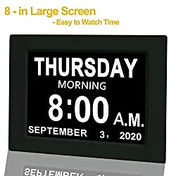 【Upgraded】 Digital Calendar Alarm Day Clock - with 8 Large Screen Display, am pm, 5 Alarm, for Extra Large Impaired Vision People, The Aged Seniors, The Dementia, for Desk, Wall Mounted, Black