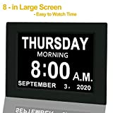 【Upgraded】 Digital Calendar Alarm Day Clock - with 8' Large Screen Display, am pm, 5 Alarm, for Extra Large Impaired Vision People, The Aged Seniors, The Dementia, for Desk, Wall Mounted, Black