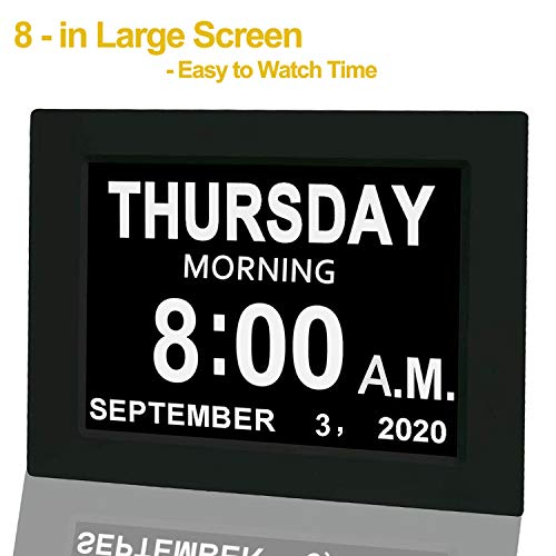 "【Upgraded】 Digital Calendar Alarm Day Clock - with 8"" Large Screen Display, am pm, 5 Alarm, for Extra Large Impaired Vision People, The Aged Seniors, The Dementia, for Desk, Wall Mounted, Black"