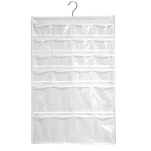 InterDesign Non-Woven Fabric Hanging Jewelry and Accessory Storage Organizer with Multiple Compartments – White