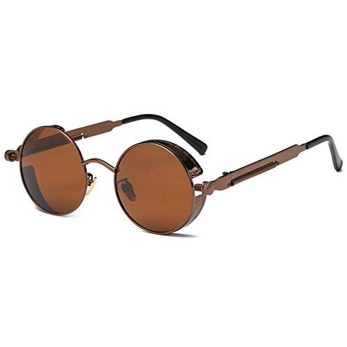 One size hombres metal Steampunk para estilo sol círculo inspirado Sra de Rosado Brown redondo Color sol Retro reflexivas polarizadas gafas Gafas GAOLIXIA de tamaño aBqw61