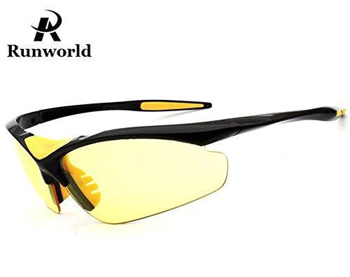 Runworld Men's HD Night View Driving Glasses Polarized Anti-glare Rain Day Night Vision Cycling Sunglasses - Name Sunglasses Brand Aviator