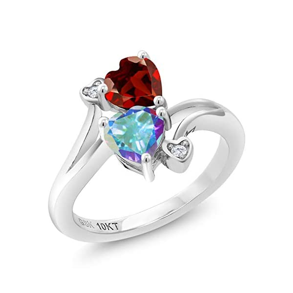 Gem Stone King 1.26 Ct Round Red Created Ruby White Diamond 925 Sterling Silver Flower Design Earrings