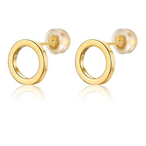 18K Gold Geometric Circle Earrings for Women Tiny Round Hoop Post Stud Minimalist Jewelry - Vermeil Post