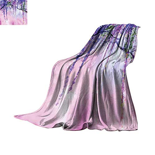 Watercolor Flower Blanket as Bedspread Wisteria Flowers on Blurred Background with Dreamy Colors Degrees of Comfort Weighted Blanket Purple Pale Pink Green Throw Blanket 50