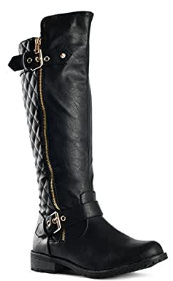 JJF Shoes Forever Mango-21 Women's Winkle Back Shaft Side Zip Knee High Flat Riding Boots Black 6