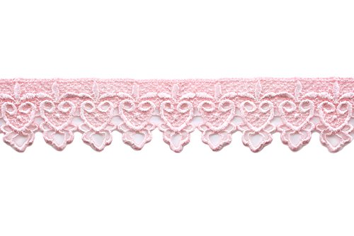 Altotux 2 Embroidered Floral Scalloped Venice Lace Trim Victorian Guipure Sewing Supplies By Yard (Light Pink)