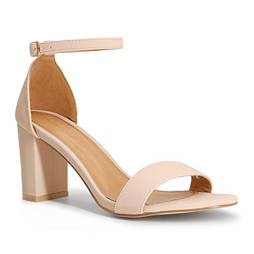 SHOWHOW Women's Chunky Heeled Sandals Ankle Strap Open Toe Block Dress Party Heels 3 INCH Nude Nubuck 6.5 M US ()
